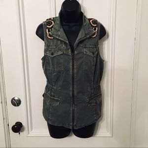 Ruff Hewn Utility Cargo Beaded Olive Green Vest